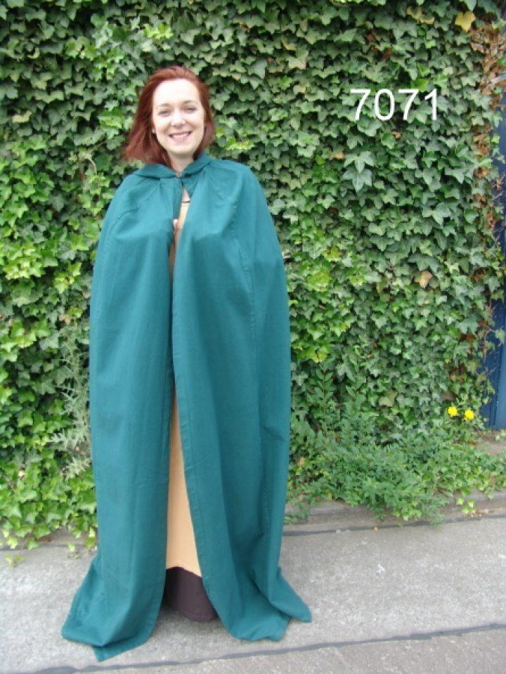 Mittelalter Umhang Grun mit Extra langer Mutze