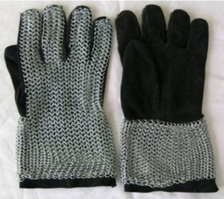 Maliënkolder Handschoenen, ronde ring, verzinkt