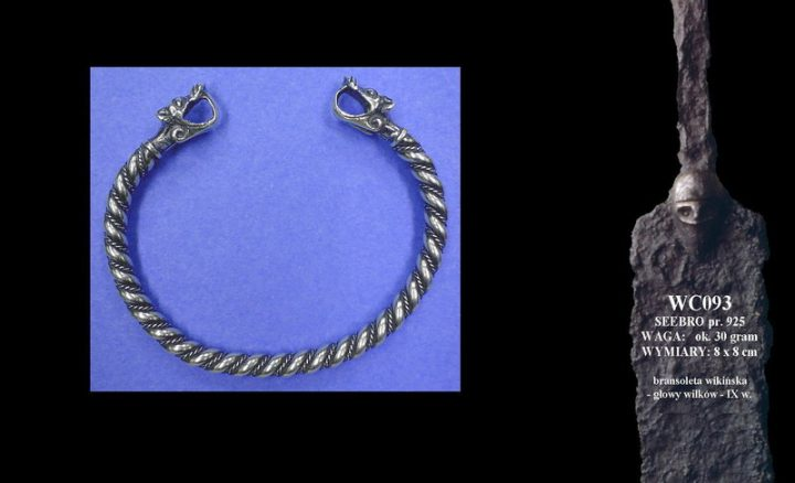 Viking bracelet with wolves' heads WC093