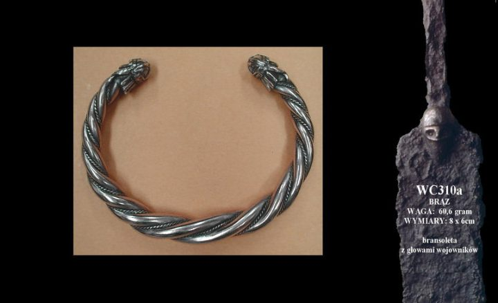 Viking bracelet with warriors' heads WC310 zilver