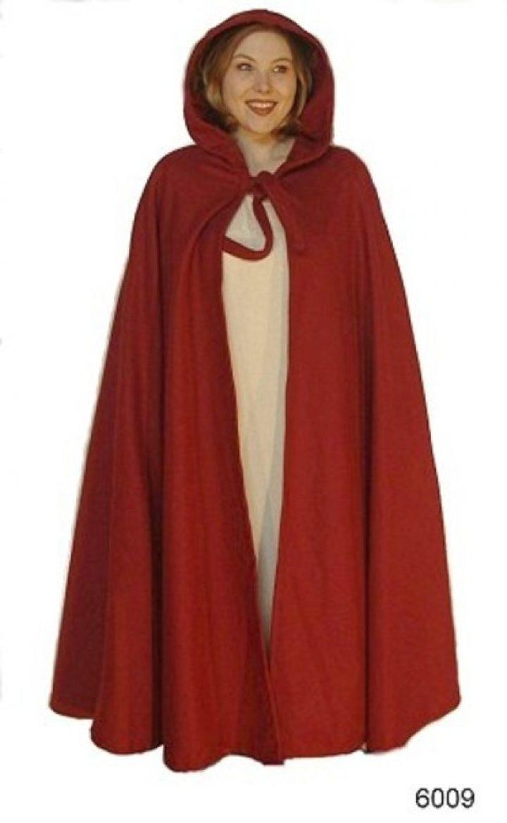 Mittelalter Umhang in Rot mit Lange Kapuze