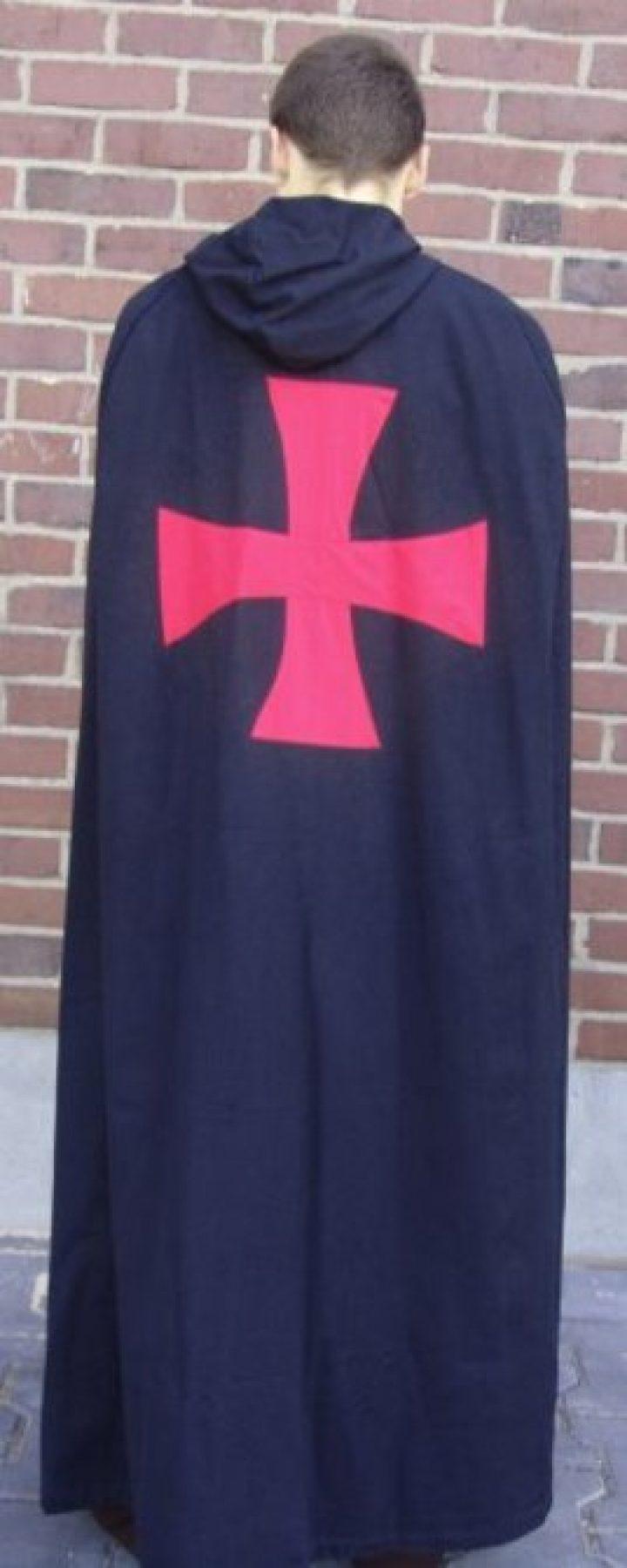 Umhang der Tempelritter in Schwartz mit Rotes Kreuz aus Baumwolle