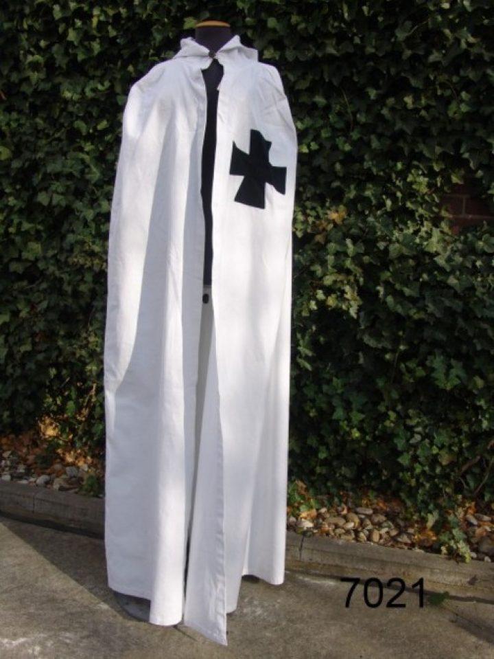 Umhang der Tempelritter in Weiss mit Schwartz Kreuz aus Baumwolle