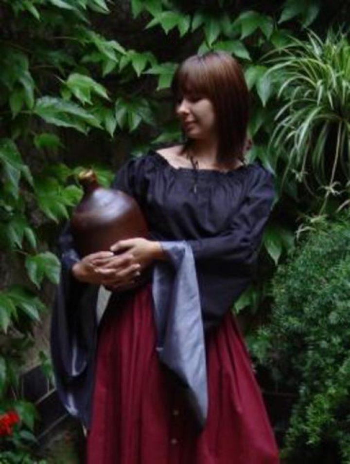 Middeleeuwse Dames Blouse in Zwart met Zilver