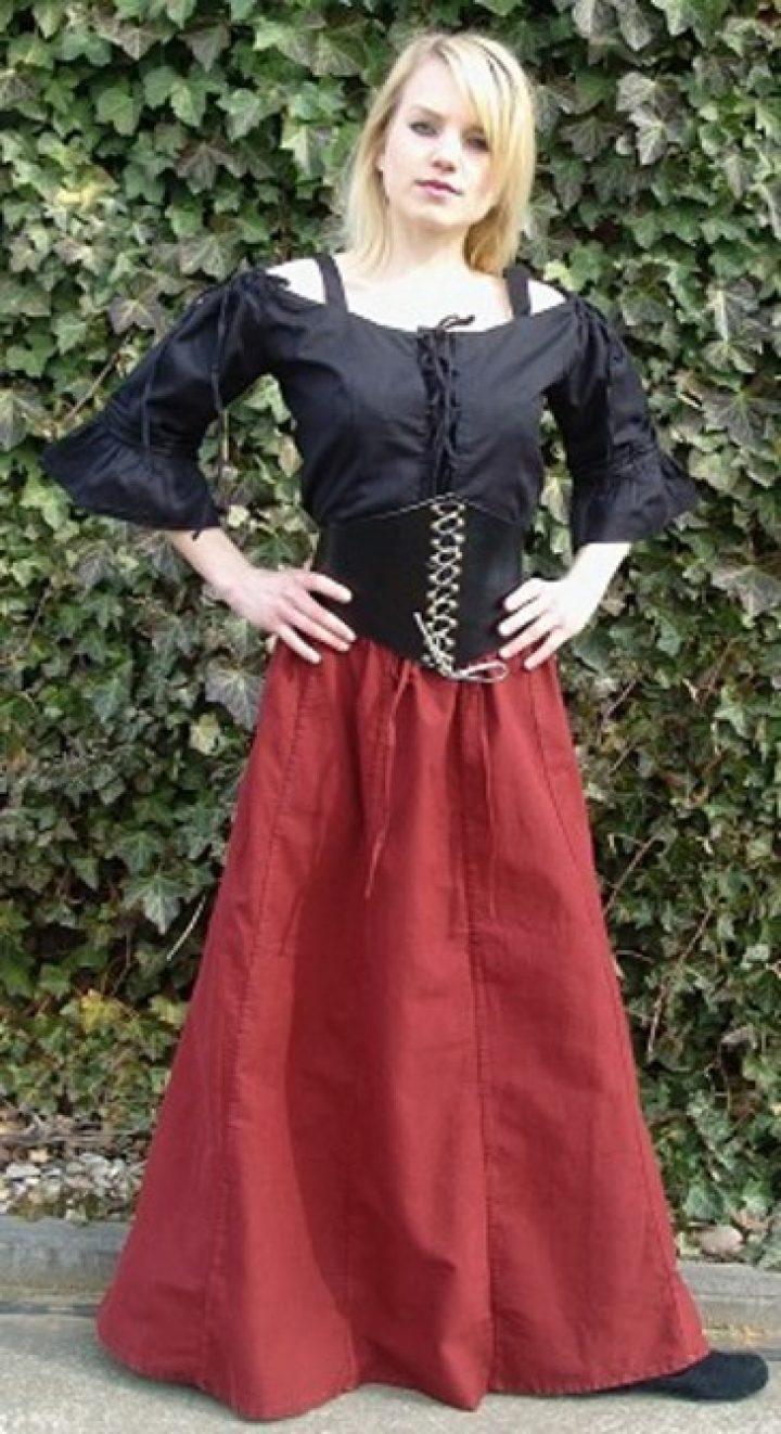 Mittelalter Damen Rock aus schwerer Baumwolle in Rot