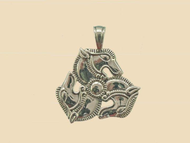Replica 4e eeuw Paarden Hanger Zilver