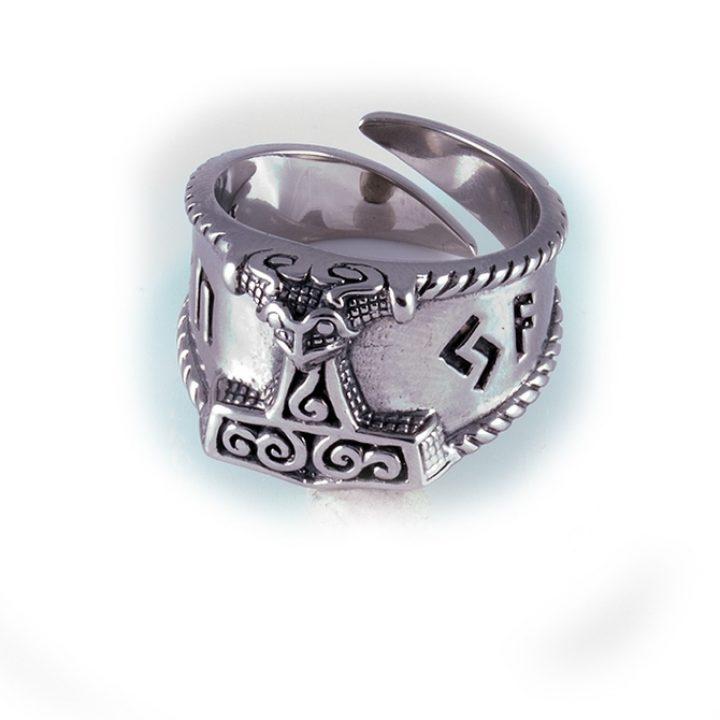 Viking Thorhamer Ring Zilver Klein