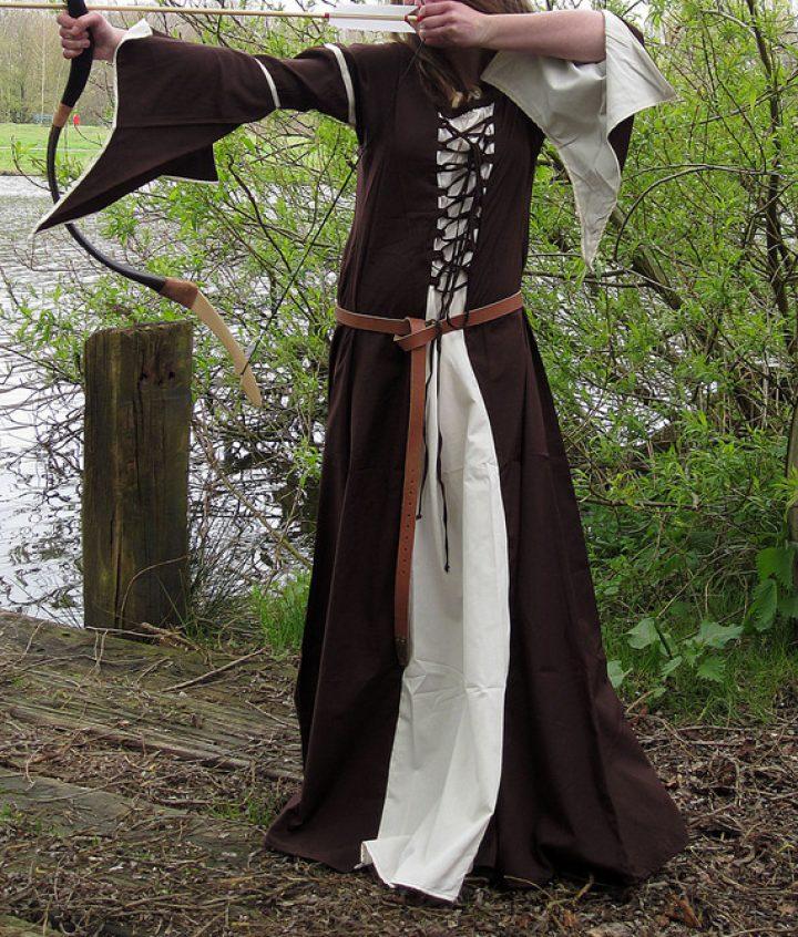 Mittelalter damen Kleid Braun-Natur