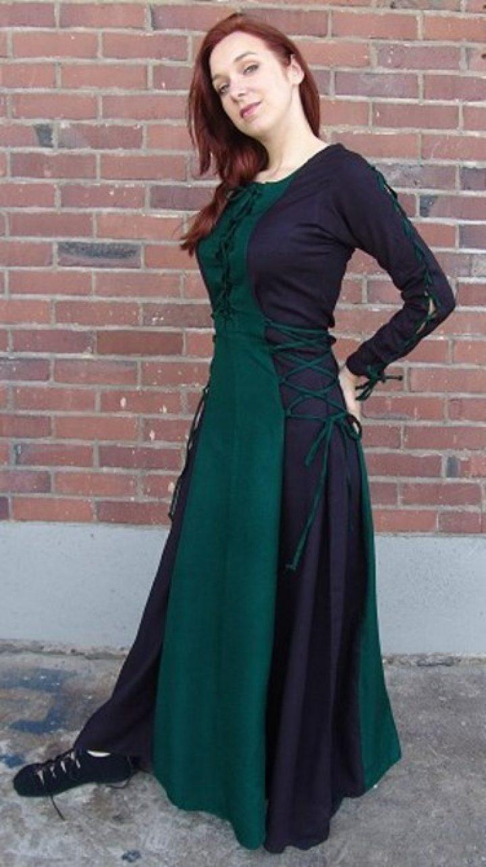 Middeleeuwse Jurk zwart-groen