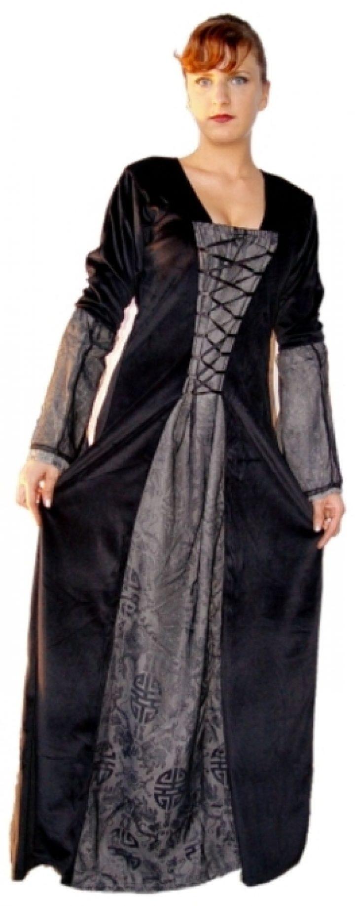 Mittelalter Kleid Schwartz-Anthrazit