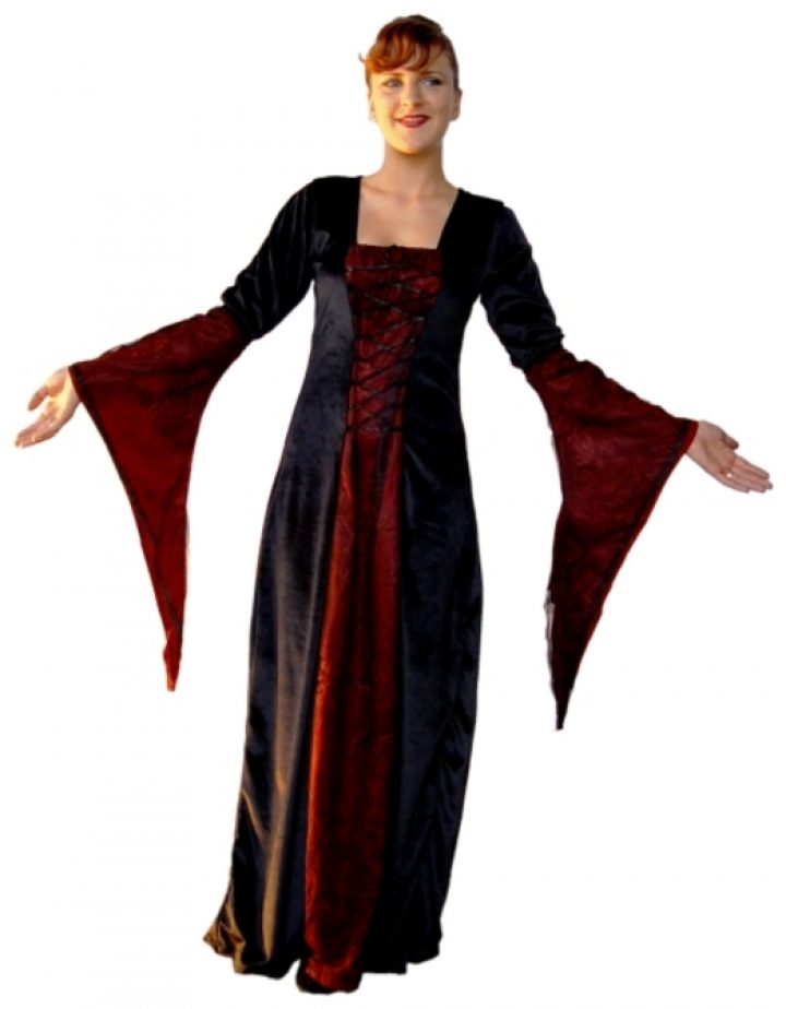 Middeleeuwse Jurk in Zwart-Rood