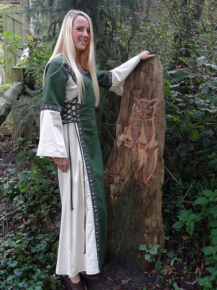 Middeleeuwse Jurk Natuur-Groen