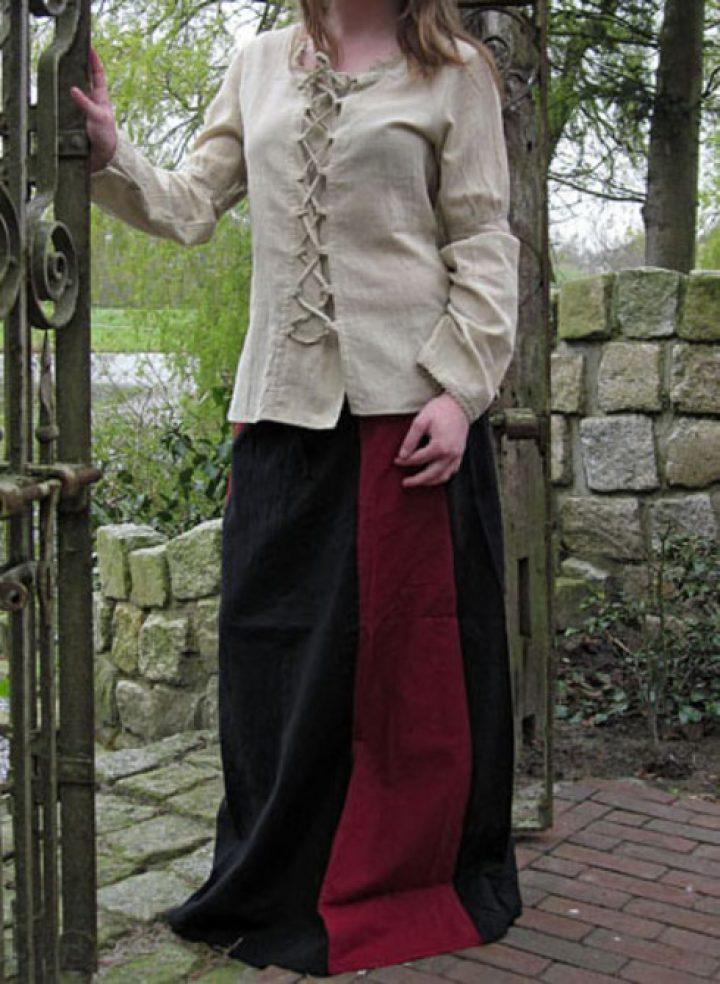 Middeleeuwse Dames Rok Zwart/Rood
