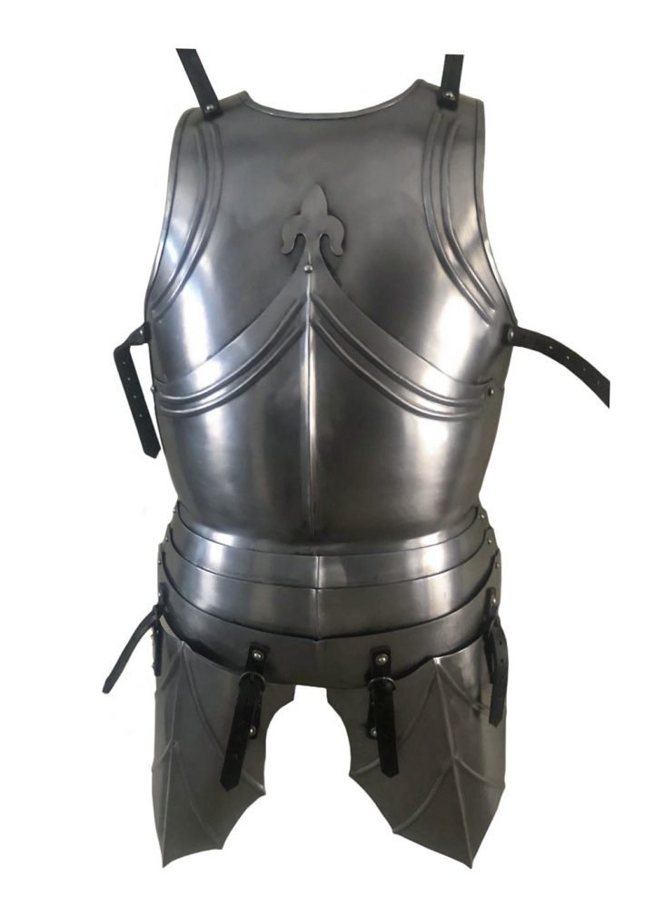 Gotischer Plattenharnisch, Brust- und Rückenpanzer mit Beintaschen, 1,2 mm Stahl