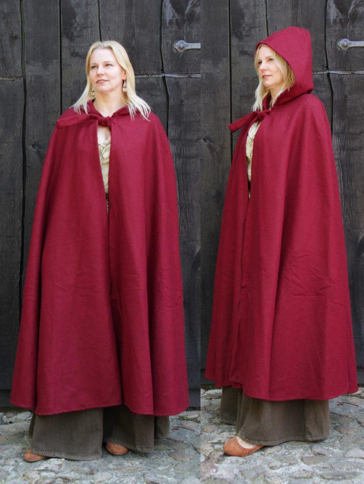 Mittelalter Umhang Rot mit Mutze