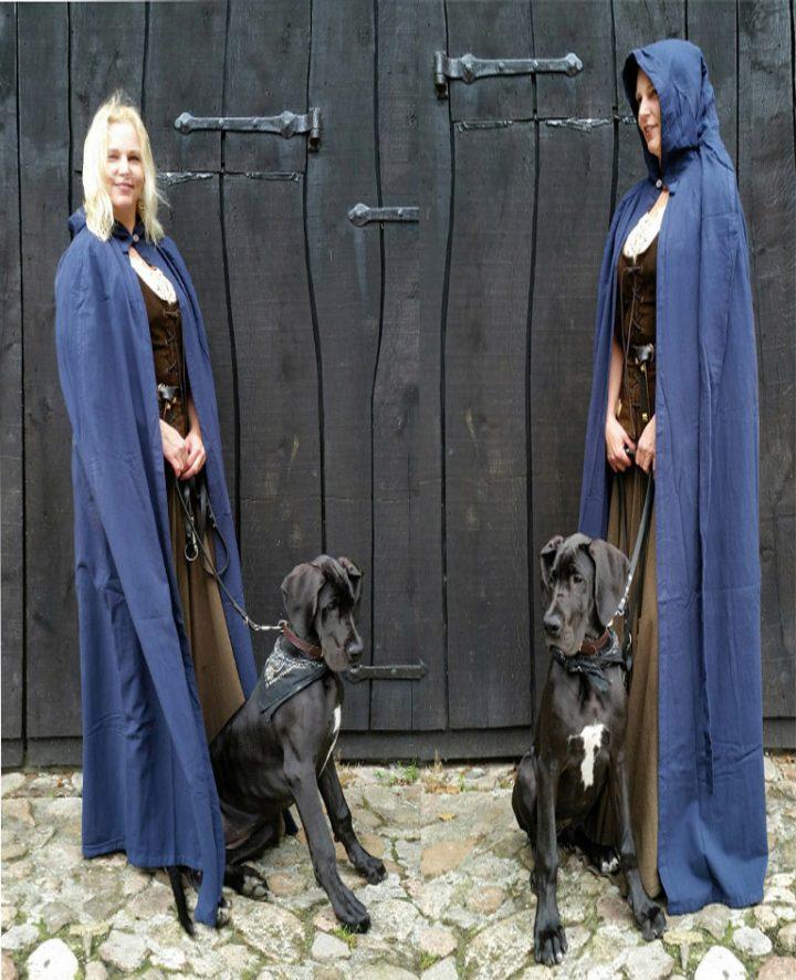 Mittelalter Umhang Blau mit Extra langer Mutze