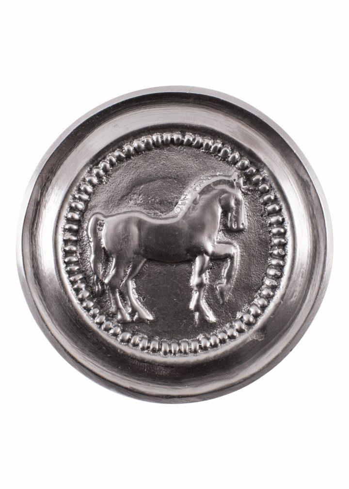 Römische Phalera, Pferd, verzinntes Messing