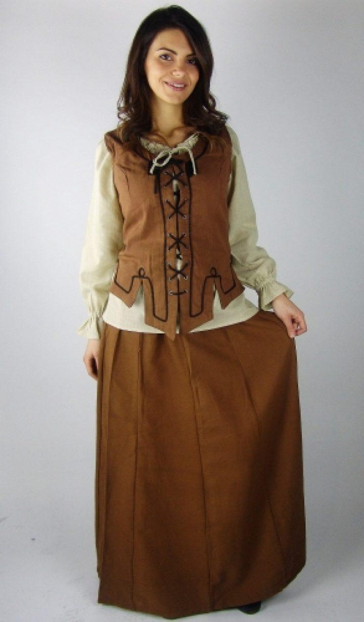 Mittelalter Damen Rock aus schwerer Baumwolle in Braun