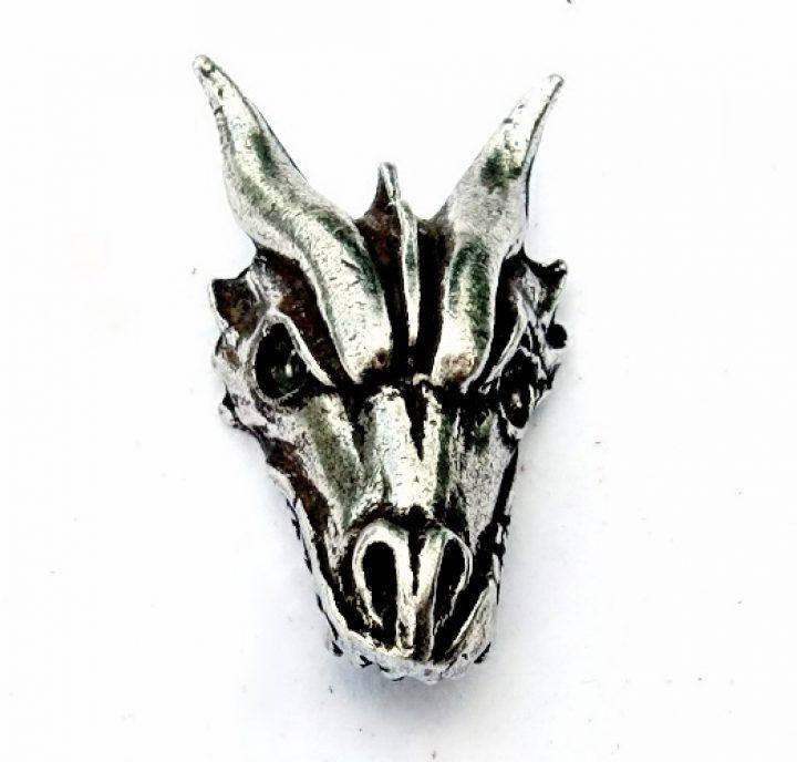 Drachenkopf Anhanger Silberfarbe mit kord