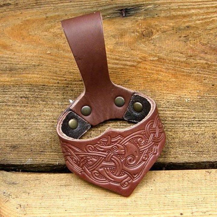 Drinkhoornhouder Viking Motief Groot Bruin