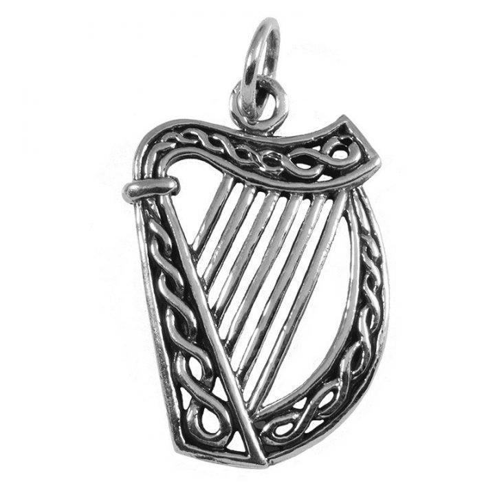 Ierse Harp Hanger Zilver groot