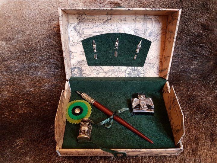 Kalligrafie set Uil Groen 6 delig