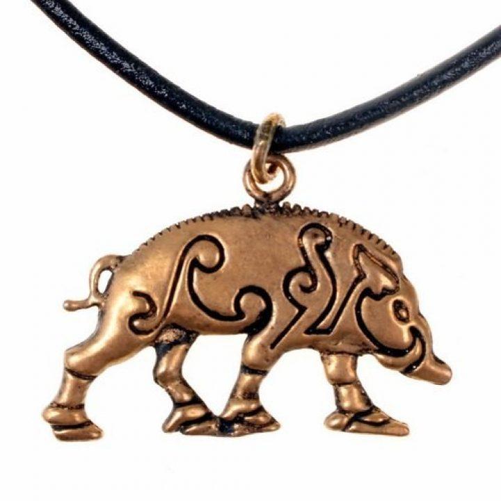 Keltischen Eberschwein Anhanger in Bronze