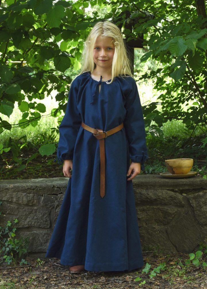 Wikingerkleid Unterkleid Ana für Kinder, blau