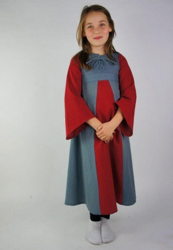 Middeleeuwse Kinderjurk in Rood- Blauw