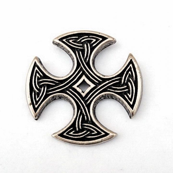 Nevern-Kreuz Anhager aus dem hohen Mittelalter in Silber farbe mit kord