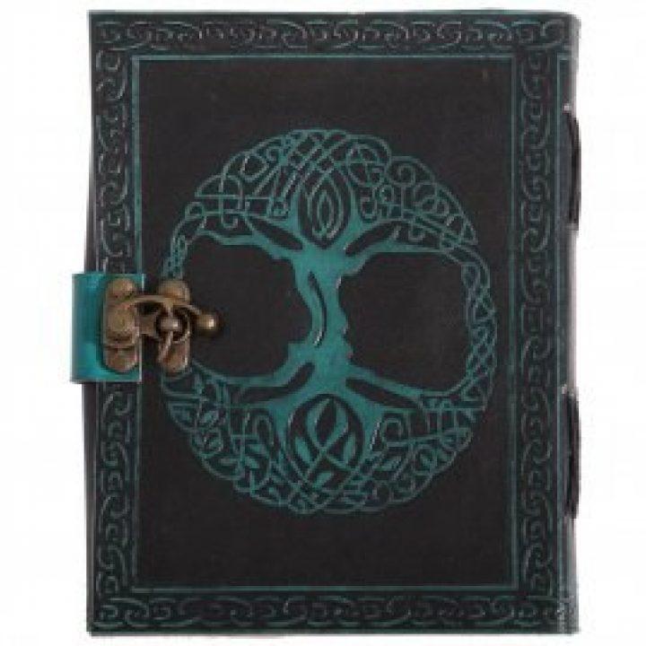 Tagebuch mit mittelalterlichem Baum des Lebens mit Verschluss aus grünem und schwarzem Leder
