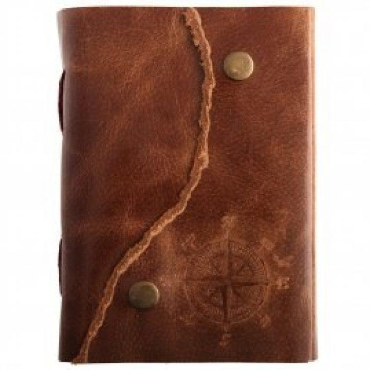 Mittelalterliches Leder Tagebuch A5 mit Kompassrose