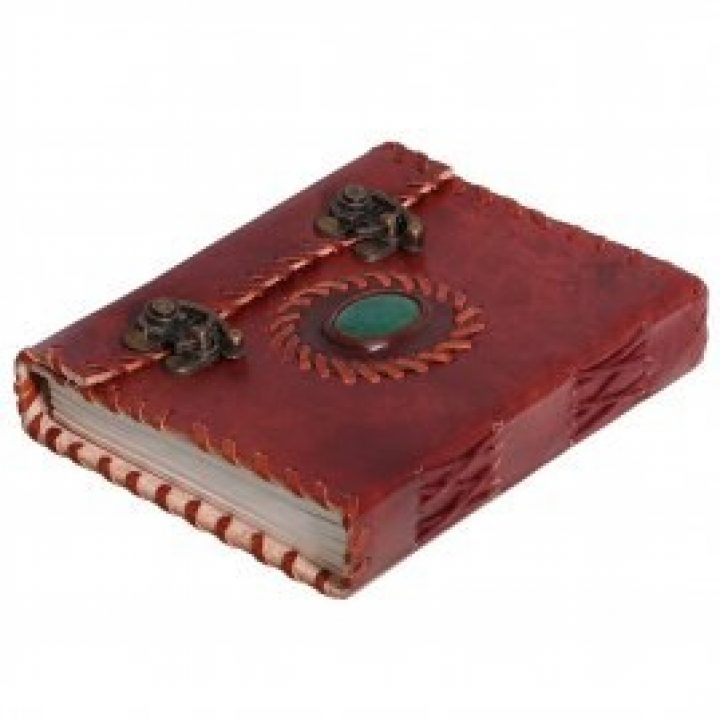 Mittelalterliches Leder-Notizbuch mit Stein und Metallverschluss