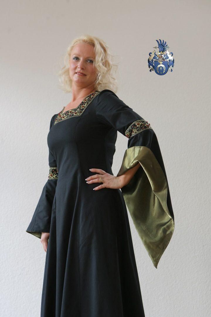 Middeleeuwse Jurk in Zwart met Groen