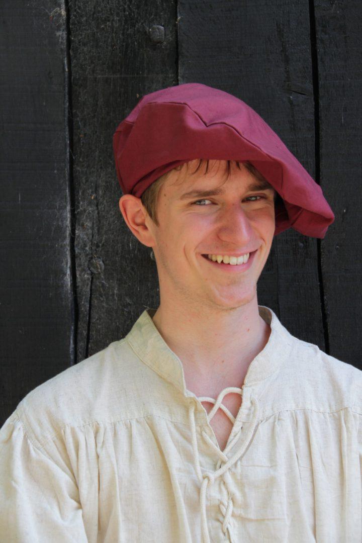 Mittelalter Barett aus Baumwolle in Rot