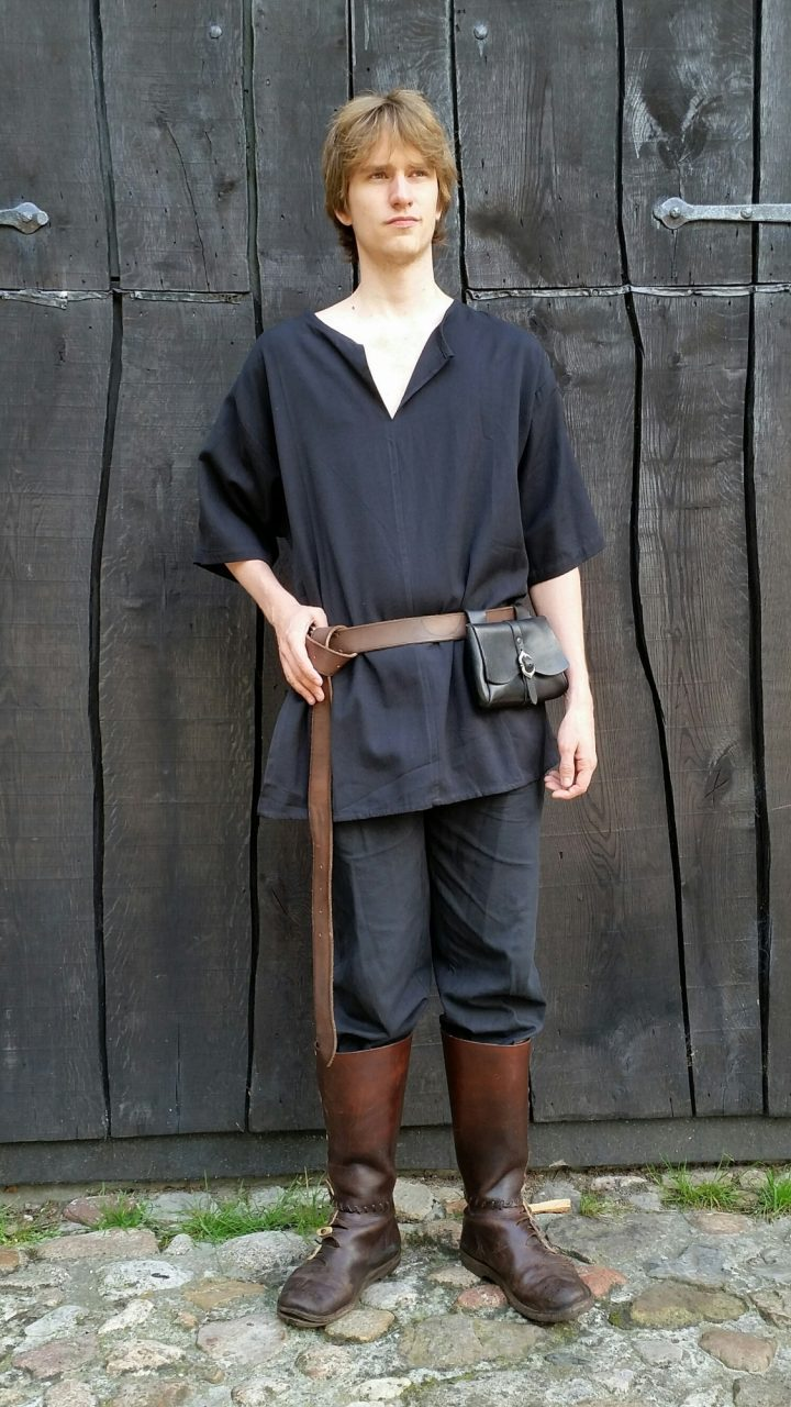 Middeleeuwse Blouse Korte Mouw zwart