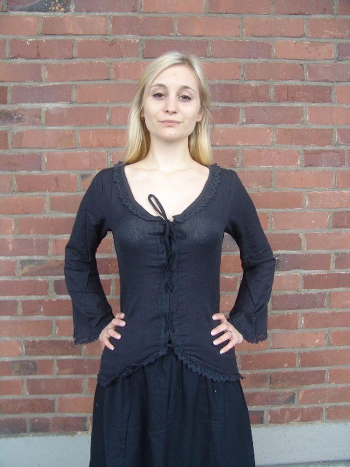 Middeleeuwse Dames Blouse in Schwarz