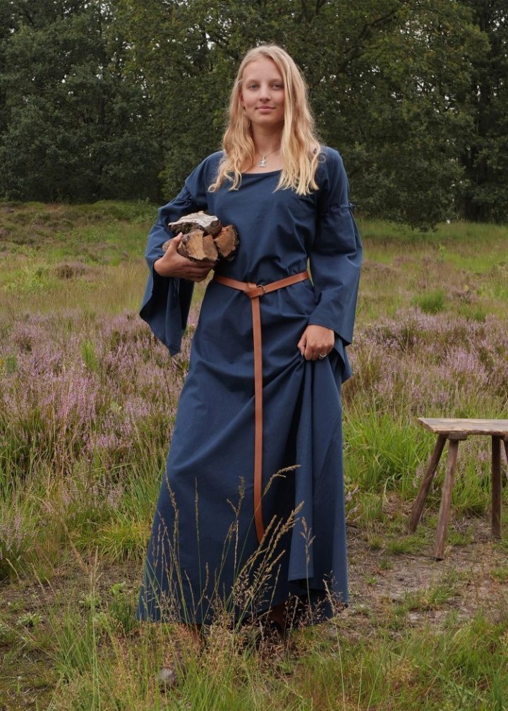 Middeleeuwse Dames Onderjurk in Blauw