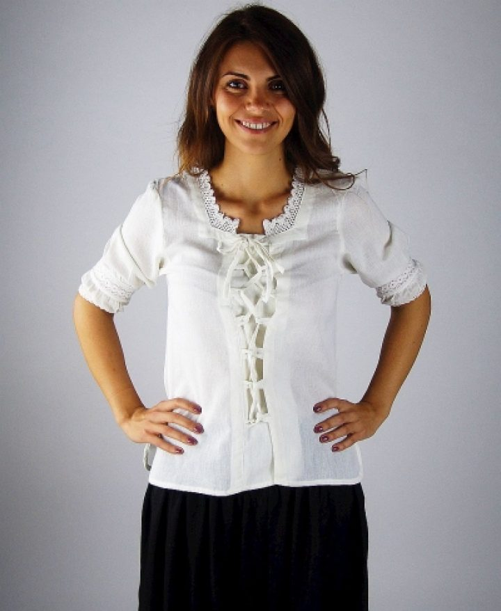 ​​Middeleeuwse Dames Blouse​ in Weiss
