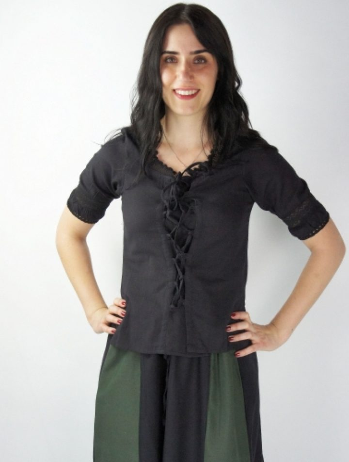 Middeleeuwse Dames Blouse Zwart