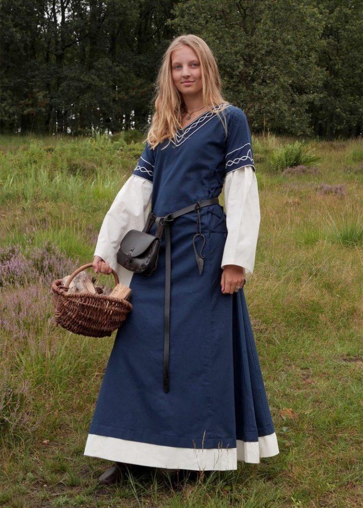 Middeleeuwse Jurk 12e eeuws Blauw-Beige