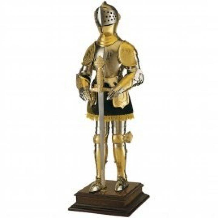 Miniatur Goldener Ritter in Rüstung mit Schwert, 61cm