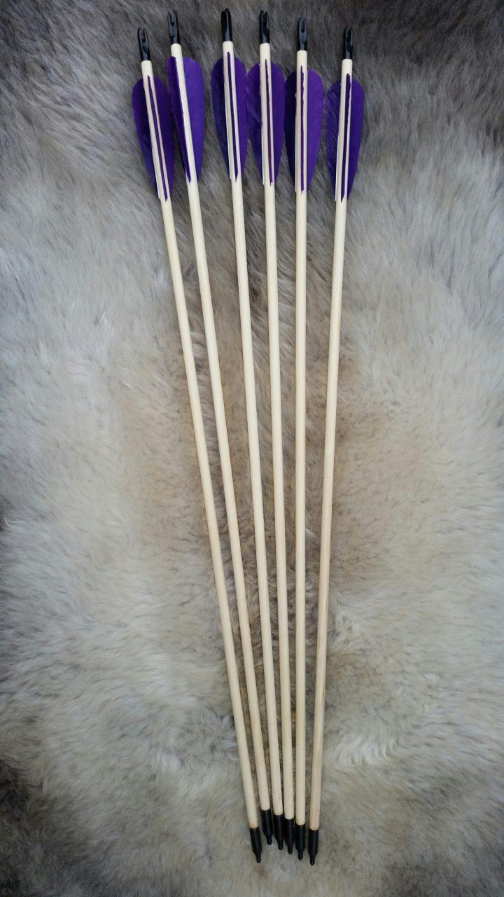 Pijlenset met 3 x paarse veren 28 inch