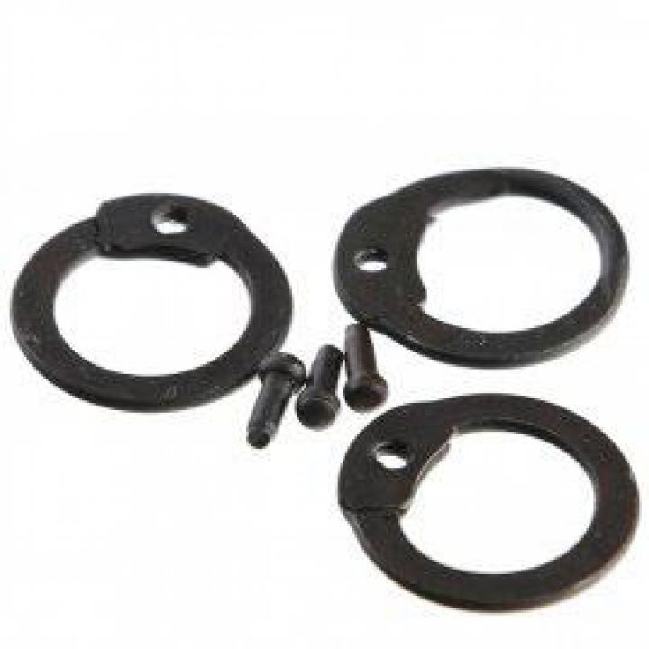 1kg Malien Ronde Platte Ringen Gezwart met Rondkopnieten ø 9 mm 0,75 mm dik