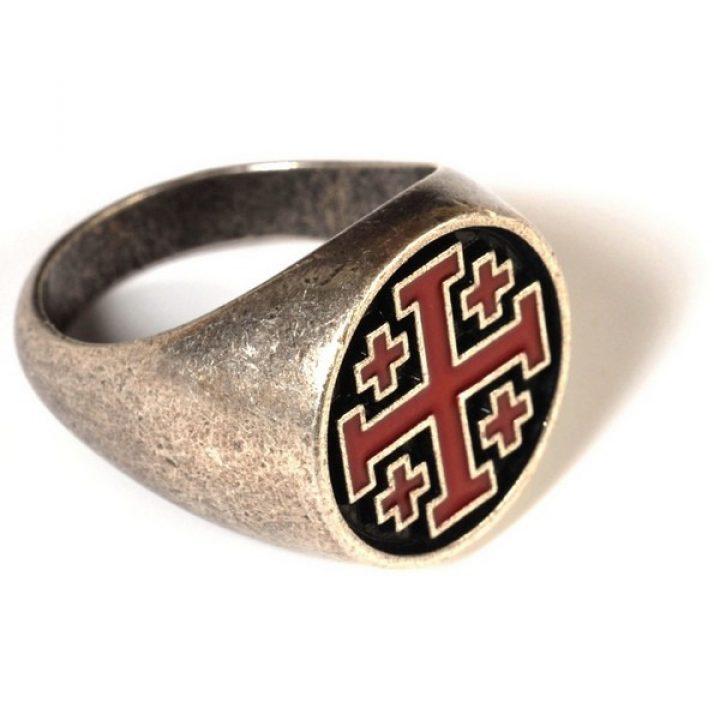 Tempeliers Ring met rood-zwart