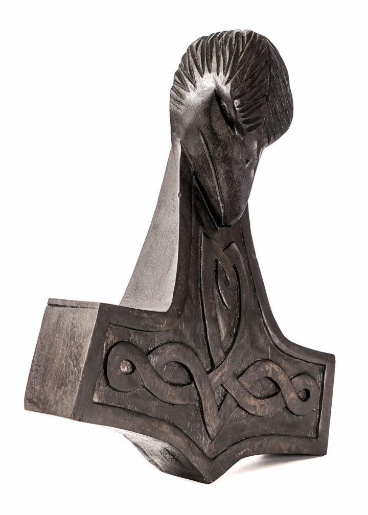 Wandschmuck aus Holz - Thorshammer mit Rabenkopf, schwarz