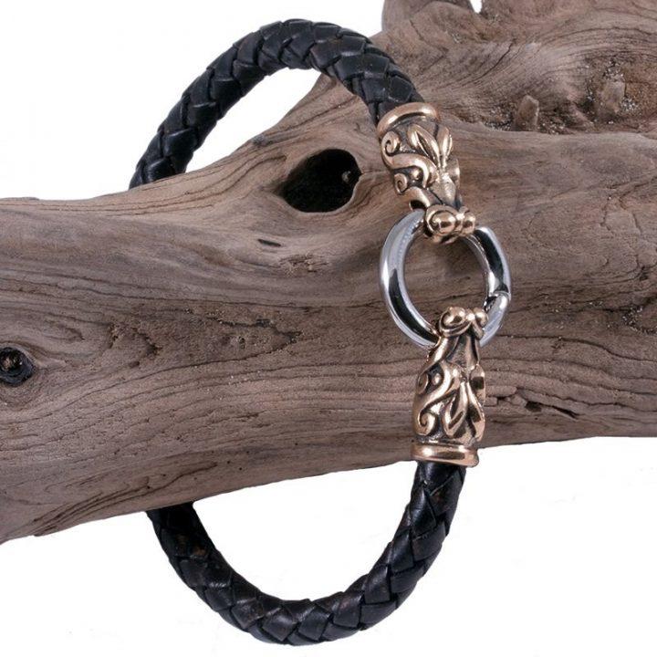 Viking Armband Drakenkop in Brons klein