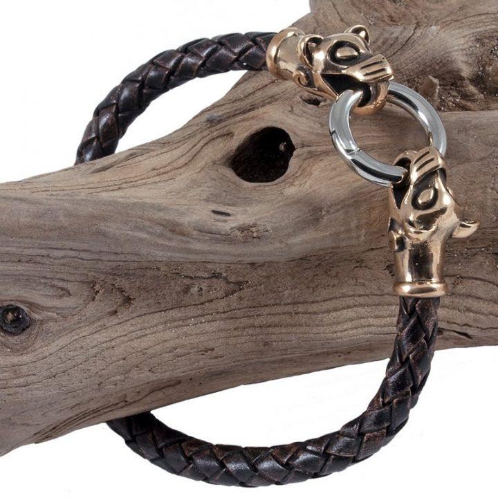 Viking Armband met Wolfskop in Brons Groot