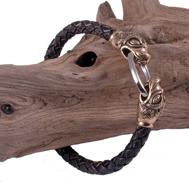 Viking Armband Leer met Drakenkoppen Brons Groot