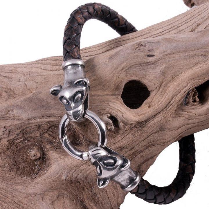 Viking Armband met Wolfskop in Tin Groot